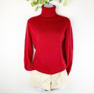 Ann Taylor Red Hot 2 Ply Cashmere Sweater Collar